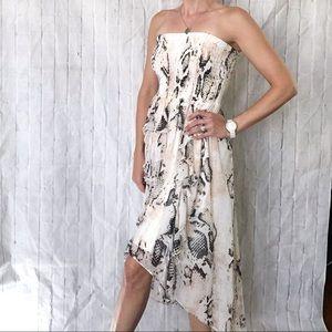 Bebe high-low strapless dress
